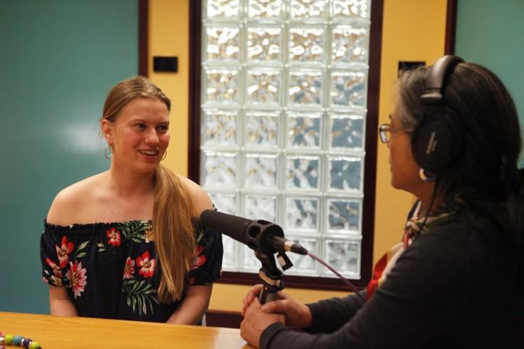Jemma Pokoney being interviewed